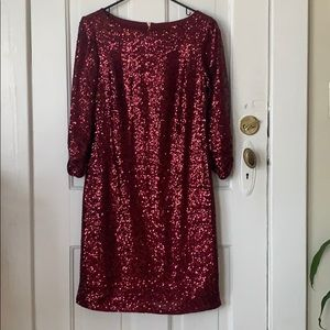 Sequined Long Sleeve Cocktail Dress